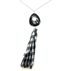 Necklace 573a 40 Icon Collection fabric tassel necklace black white