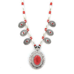 Necklace 840 40 Icon Collection navajo concho stone necklace silver red