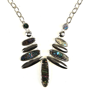 Necklace 690 40 Icon Collection oval bib style necklace multicolor abalone
