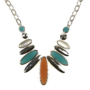 Necklace 660 40 Icon Collection oval bib style necklace turquoise coral