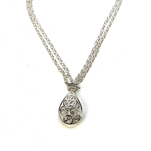 Necklace 067a 40 Icon Collection filigree tear drop necklace silver