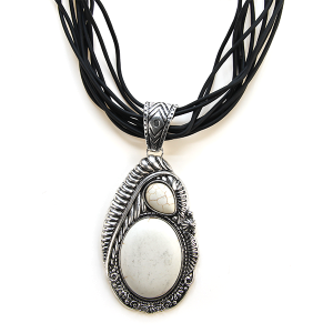 Necklace 1258a 40 Icon Collection string necklace stone navajo white