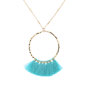 Fringe fan hoop necklace teal