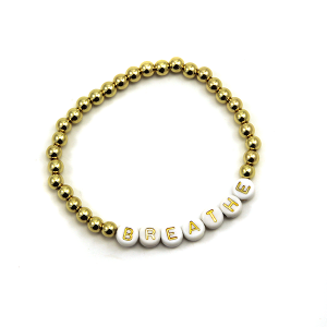Bracelet 508a 45 Frenzy bead bracelet stretch gold breathe
