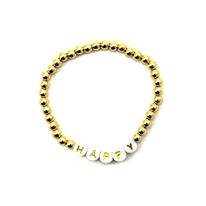 Bracelet 047c 45 Frenzy bead bracelet happy gold