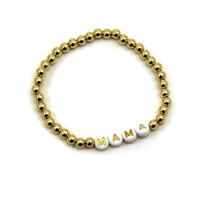 Bracelet 520a 45 Frenzy bead bracelet stretch gold mama