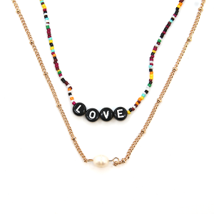 Necklace 1986a 45 Frenzy multicolor sunset pearl bead necklace