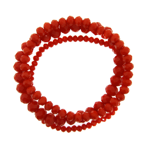 Bracelet 111b 43 Encour 3pc stackable crystal bead red