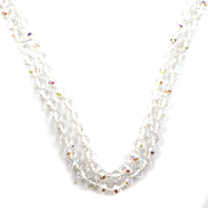 Necklace 1798a 46 Encour 30 60 inch bead necklace white clear ab 434