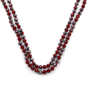 Necklace 906a 46 Encour 30 60 inch bead necklace red gray