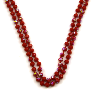 Necklace 1807 46 Encour 30 60 inch bead necklace red