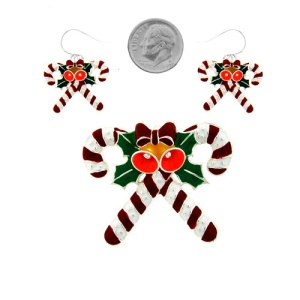 christmas pin 087a 47 candy cane red white silver