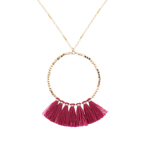 Fringe fan hoop necklace fuchsia