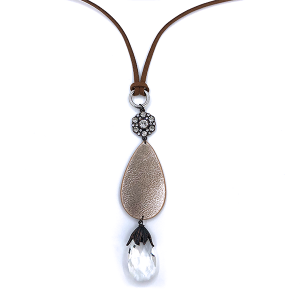 Necklace 1218i 47 Oori  String Leather tear drop crystal rose gold