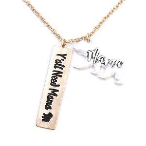 Necklace 1612j 47 Oori Yall Need Mama Bear gold silver