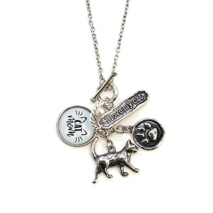 Necklace 1761a 47 Oori multi charm cat mom necklace I love my cat silver