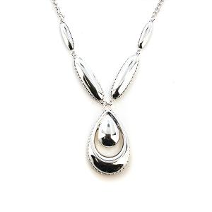 Neckalce 832b 47 Oori tear drop silver link