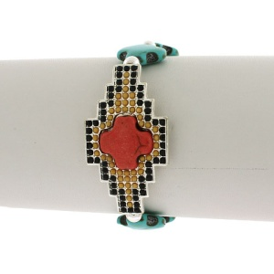 Bracelet 502 47 Oori cross charms turquoise