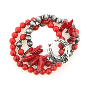 Bracelet 337 47 Oori W bead semi precious stretch stack red