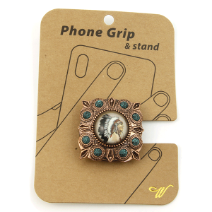 Phone Grip 027a 47 Oori western Indian Chief copper