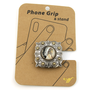 Phone Grip 026b 47 Oori western  Indian Chief silver