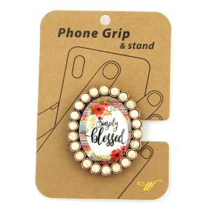 Phone Grip 050b 47 Oori concho serape flower simply blessed white