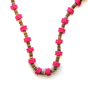 Necklace 017a 47 Oori W disk bead long necklace brown pink