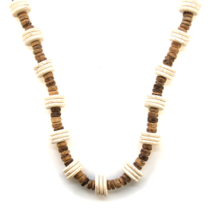 Necklace 062a 47 Oori W disk bead long necklace brown turquoise
