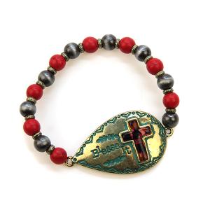 Bracelet 455a 47 Oori bead cross bracelet gold