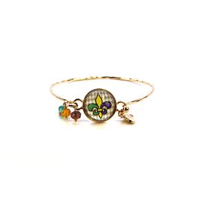 Mardi Gras Bracelet 007d 47 Oori fleur de lis bracelet gem charm multicolor
