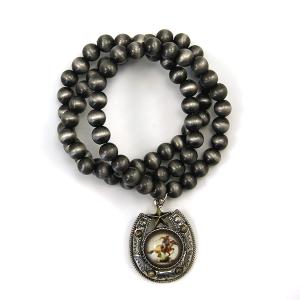 Bracelet 404 47 Oori bead bracelet navajo gem spur cowboy silver