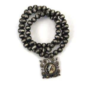 Bracelet 398 47 Oori bead bracelet navajo gem headdress silver