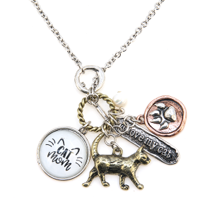 Necklace 1086a 47 Oori multi charm cat mom necklace I love my cat multicolor