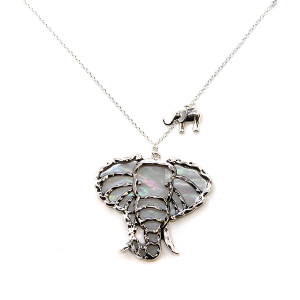 Necklace 1046 R 47 Oori elephant chain necklace silver white