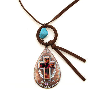 Necklace 1584 47 Oori tear drop cross leather necklace copper