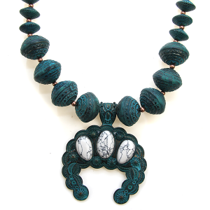 Necklace 1187 47 Oori navajo bead stone arc necklace patina white