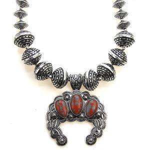 Necklace 1177 47 Oori navajo bead stone arc necklace silver red