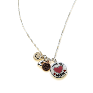 Necklace 822k 47 Oori charm I love you mom necklace red heart
