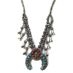 Necklace 1021b 47 Oori Navajo Necklace Arc turquoise coral