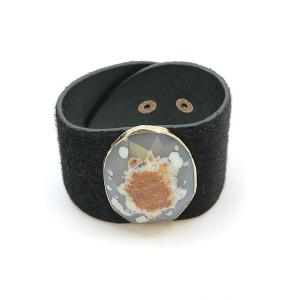 Bracelet 807o 47 Oori cuff faux fur stone black