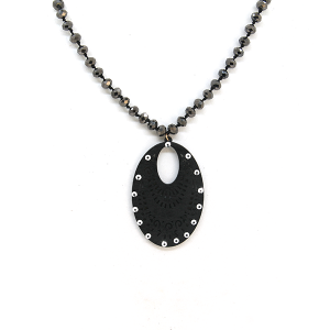 Necklace 1480b 47 Oori W western chic bead filigree necklace black