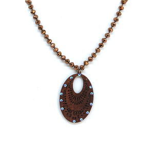 Necklace 1620a 47 Oori W western chic bead filigree necklace brown