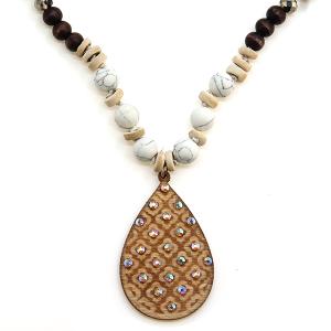 Necklace 1386 47 Oori Western Chic bead wood necklace tear drop rhinestone