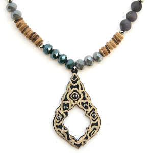 Necklace 1287 47 Oori Western Chic bead wood necklace