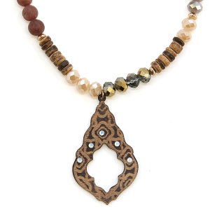 Necklace 1404 47 Oori Western Chic bead wood necklace