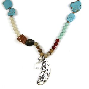 Necklace 2662 47 Oori W stone bead necklace feather