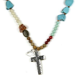 Necklace 2690 47 Oori W stone bead necklace cross