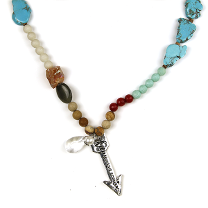 Necklace 1592 47 Oori W stone bead necklace arrow