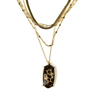 Necklace 874c 50 It's Sense multilayer necklace leopard gold