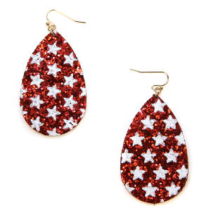 Earring 1503 50 It's Sense tear drop stars earring USA America red